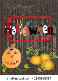 Happy Halloween poster with pumpkins, spiders and funny Halloween letters