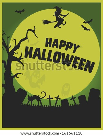 Happy Halloween Poster Template AAA Graveyard With Ghosts Bats
