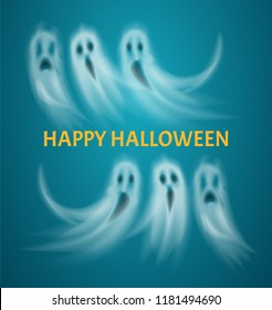 Happy Halloween poster with text flying ghosts vector. Floating ghostly creatures, apparitions with evil look and sad expression. Scary poltergeists