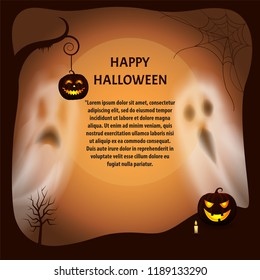 Happy Halloween poster with text sample vector. Pumpkin lantern on dry branch tree, ghosts and apparitions, candle with fire and lights. Spiders web