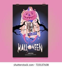 Happy Halloween Poster. Vector illustration halloween Party.