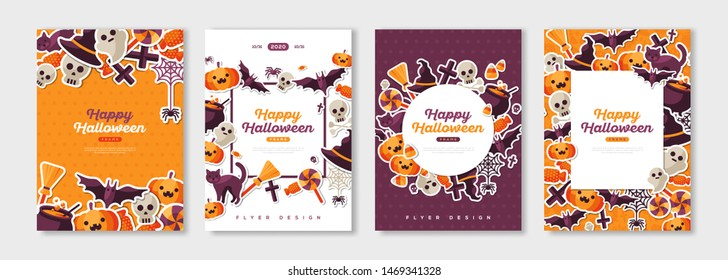 Happy Halloween posters set with trick or treat stickers for party invitation or menu design. Place for your text. Vector illustration
