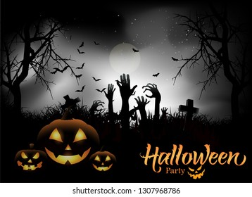 Happy Halloween Pumpkin Background Vector Illustration. Halloween Flat Design. Happy Halloween Party Postcard or Poster or Flyer template.