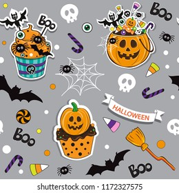 Happy Halloween pumpkin with halloween candy seamless pattern background