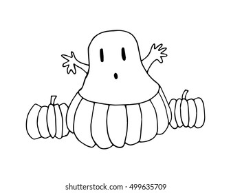 happy halloween. pumpkin with a ghost. sketchy style