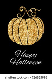 Happy Halloween, pumpkin gold glitter design. Typography posters with golden pumpkin silhouette and text.