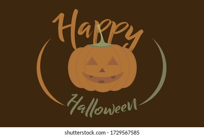 Happy halloween. Pumpkin on brown background. Symbol of the Happy Halloween holiday. Sign In Orange pumpkin with creepy smile for your design Halloween. Vector illustration.