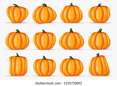 happy halloween pumpkin realistic decoration element isolated on background