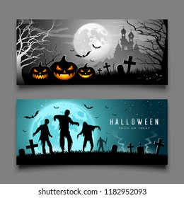 Happy Halloween pumpkin and zombies banners horizontal collections design background, Vector illustrations