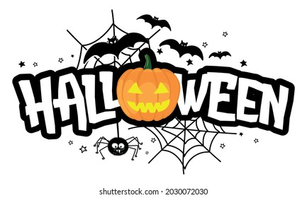 Happy Halloween - halloween quote on white background with a cute hanging spider and jack o lantern pumpkin.  Good for t-shirt, mug, banner, gift, printing press. Holiday quote, Sales promotion.