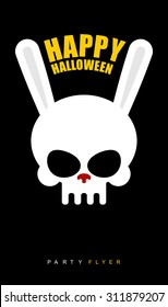 Happy Halloween. Rabbit skull on  black background. Party flyer. Vector illustration invitation to  feast.