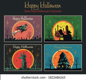 Happy Halloween Retro Greeting Cards Style, Holiday Scary Posters. Flying Witch, Zombie's Hand, Houses with the Ghosts