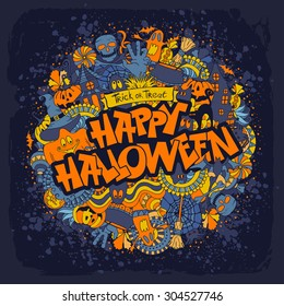 Happy Halloween retro styled doodle creative design with various elements of holiday on dark blue grunge background. Vector illustration.