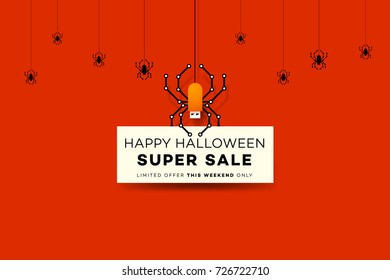 Happy Halloween Sale Background With Digital Spider Like USB Flash Drive. Modern Vector Illustration. Posters, Postcards, Greeting Cards, Banners, Headers Template.