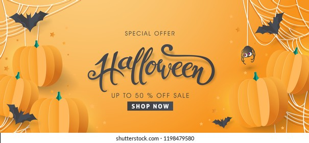"""Happy Halloween sale banners or party invitation background.Vector illustration .calligraphy of """"halloween"""""""
