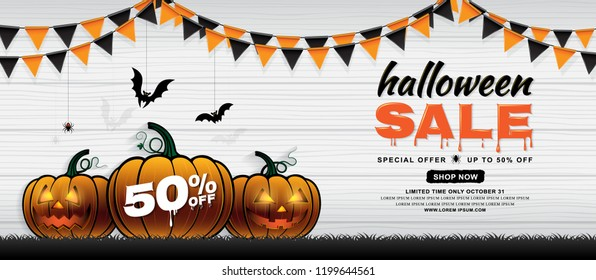 happy halloween sale trick or treat banner template pumpkins, bats, flags and spider web on white wooden background decoration for poster, flyer, web, coupon and card vector illustration
