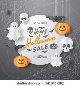 Happy Halloween sale vector banner. Paper cut style. Vector illusration