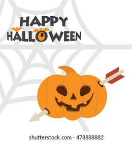 Happy Halloween Scary Pumpkin with typography and net. Happy Halloween Card template. vector halloween poster template illustration