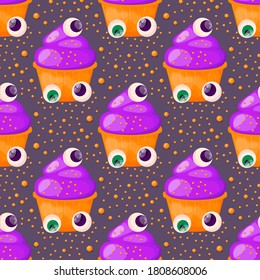 Happy Halloween. Seamless pattern with cupcake and scary eye Vector illustration.