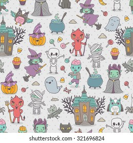 Happy Halloween seamless pattern with cute characters - vampire, zombie, dracula, pumpkin, witch, ghost, bat, devil, mummy, skeleton, owl and black cat