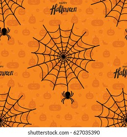 Happy Halloween seamless pattern. Endless texture for wallpaper, web page background and wrapping paper. Happy Halloween vector lettering.