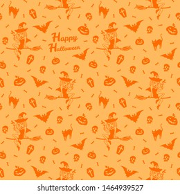 Happy Halloween seamless repeat vector pattern with greeting. Cute simple cartoon halloween things, tiny objects, characters. Pretty witch, bat, black cat, candy, skull, pumpkins orange background.