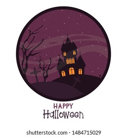 Happy halloween season card with haunted house cartoons ,vector illustration graphic design.