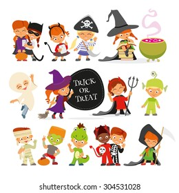 Happy Halloween. Set of cute cartoon children in colorful halloween costumes:cat,pirate,devil,witches,ghost,dragon,ufo,mummy,skeleton.Cartoon icon set for halloween kid design. Isolated on white