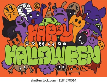 Happy Halloween ,Set of funny cute monsters, aliens or fantasy animals for children coloring books or t-shirts. Hand drawn line art cartoon vector illustration