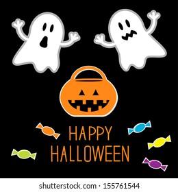 Happy Halloween set. Ghosts, pumpkin, candies. Card. Vector illustration