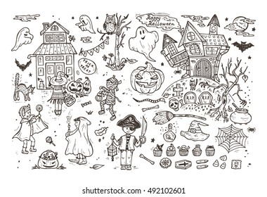 Happy Halloween. Set of Hand Drawn Doodle Cute Children in Halloween Costumes and various halloween night holiday design elements. Coloring page for kids.