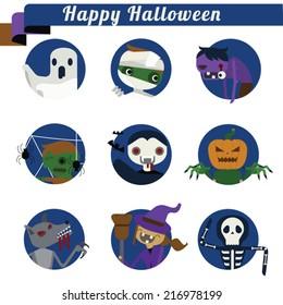 Happy Halloween set Illustrator