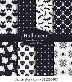 Happy Halloween! Set of seamless patterns with traditional holiday symbols: skulls, bats, pumpkins, ghosts, owls, spiders and web. Vector collection of backgrounds in black and white colors.