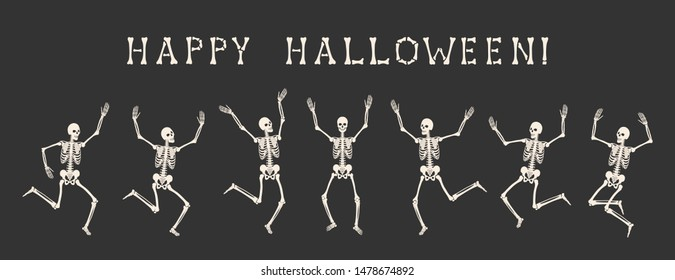 Happy Halloween. Seven white human skeletons are dancing on a party. Vector illustration is isolated on black background.