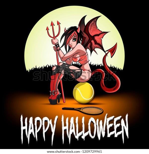 Happy Halloween Sexy Devil Woman Sitting Stock Vector