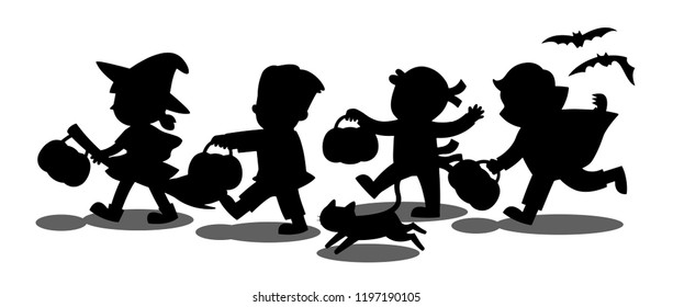 Happy Halloween. Silhouette of Children dressed in Halloween fancy dress to go Trick or Treating.Template for advertising brochure.