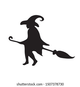 Happy Halloween. Silhouette of a witch flying on a broomstick on a white isolated background. Vector image esp 10