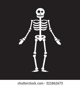 Happy Halloween skeleton illustration, zombie from bones and skull. Vector