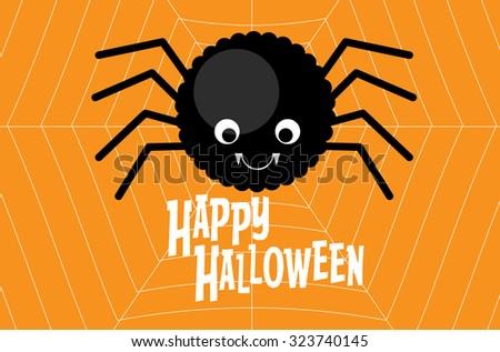 happy halloween spider template vectorillustration stock vector
