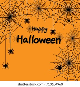 Happy Halloween spider web and spiders for greeting card, poster, banner, Vector illustration