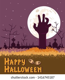Happy Halloween Spooky background, zombie hand coming out of the ground