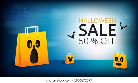 Happy Halloween spooky night with shopping bag sale banner background paper cut style.Vector illustration.