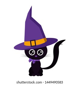 Happy halloween sweet funny cute black cat girl with a purple collar with a bow and cartoon purple color with orange buckle strap witch hat isolated on white background flat design vector illustration