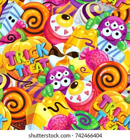 Happy Halloween sweet seamless pattern. Trick or treat. Cartoon vector illustration candy and lollipop.