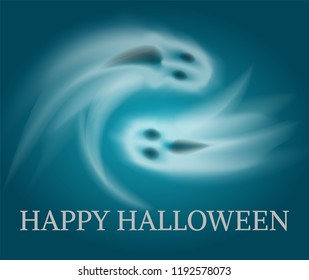 Happy Halloween swirling sad and angry apparitions poster with text vector. Horror and spooky creatures living at night. Horror poltergeist character