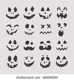 Happy Halloween teeth, set of characters, zombie, collection of smileys for the holiday. Funny scary, cute frightened faces. Vector illustration for design
