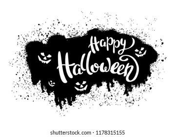 Happy Halloween template for banner or poster. Holiday lettering  with spider and web. Vector illustration