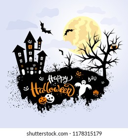 Happy Halloween template for banner or poster. Holiday lettering  with spider, pumpkin and web. Vector illustration