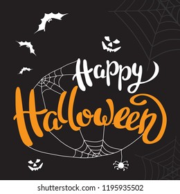 Happy Halloween template for banner or poster. Halloween holiday lettering  with spider and web. Vector illustration
