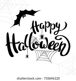 Happy Halloween template for banner or poster. Holiday lettering  with spider and web. Vector illustration.